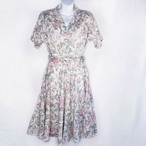 Vintage Floral Belted A-Line Shirt Dress Collared